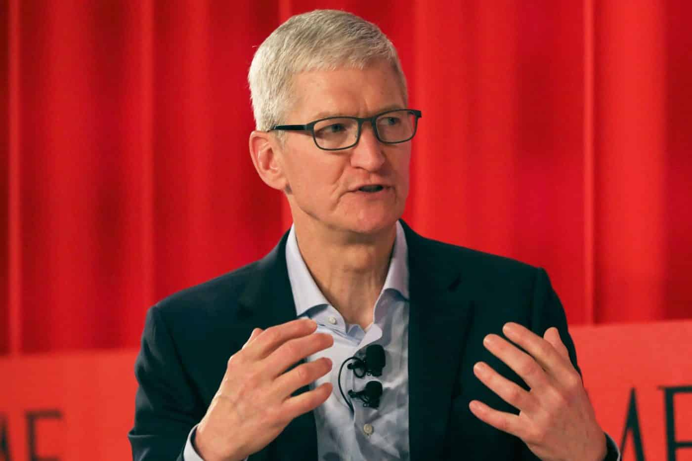 Apple CEO Tim Cook speaking at a Time Magazine conference