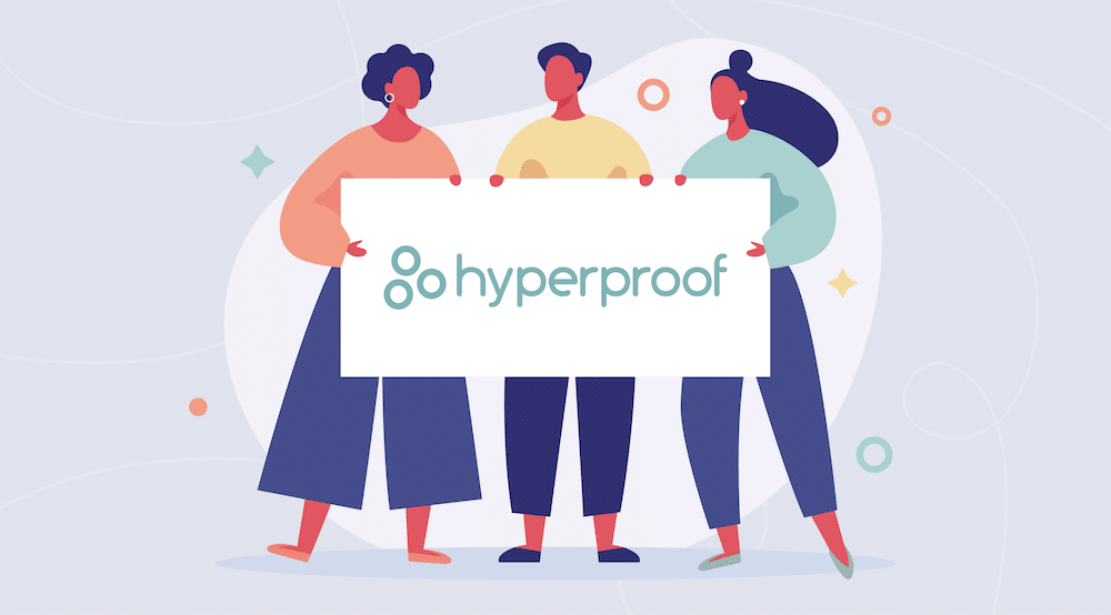 Vector characters holding a Hyperproof sign