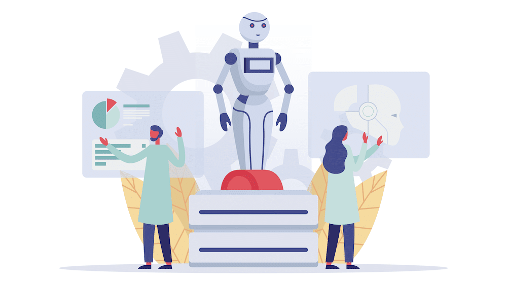 Vector art showing two people analyzing a robot.