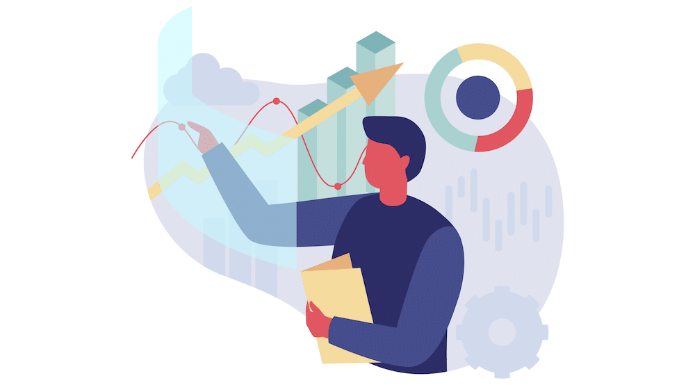 Vector art showing a man analyzing different data formats.