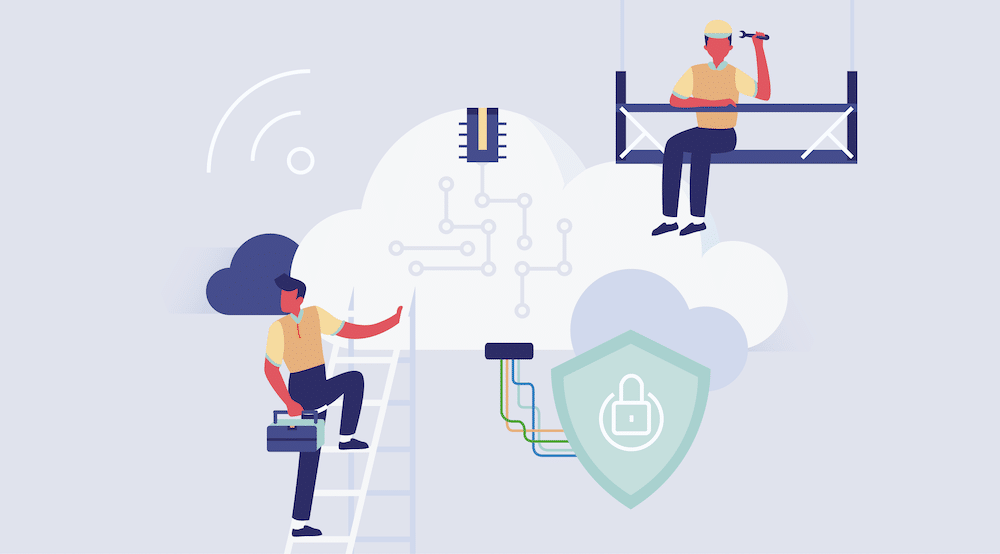 Vector art illustrating two workers with cyber cloud symbols.