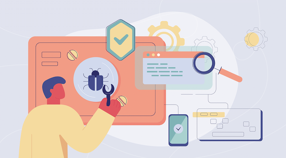 A vector character works with a tool on different illustrations of connected technology IT_General_Controls