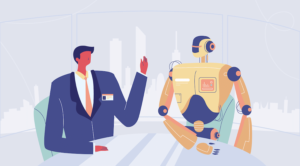 A vector character speaks with a vector robot. IT_General_Controls