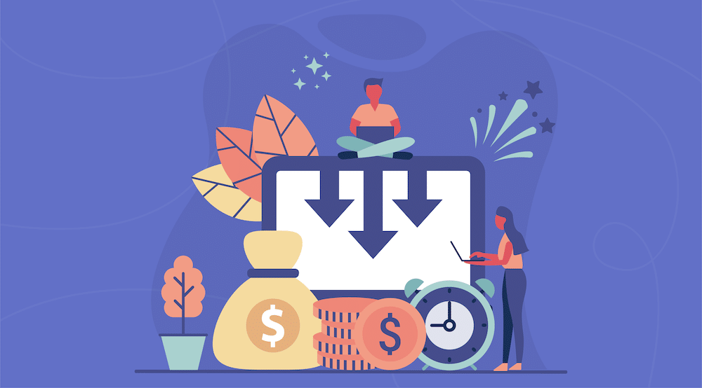 Vector characters working with money around them