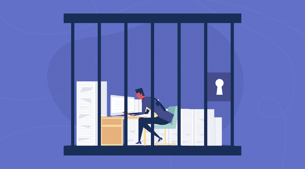 Vector character working on a computer in jail
