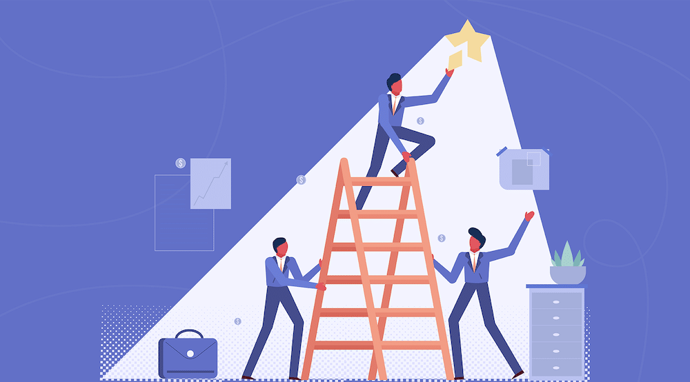 Vector character work together to reach a broken light and fix it (IT Compliance: An Essential Ingredient For Winning Deals)