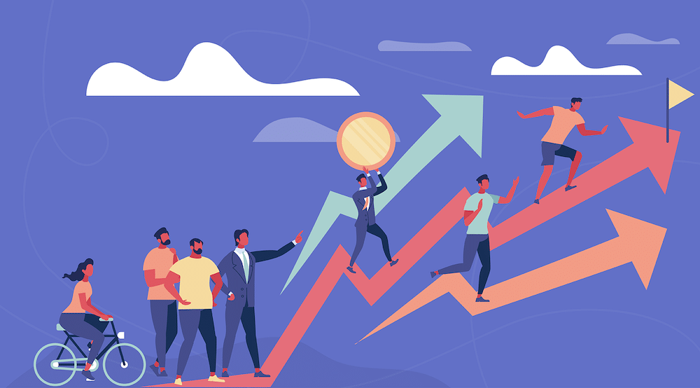 Vector characters symbolically climbing up different trend lines (IT Compliance: An Essential Ingredient For Winning Deals)