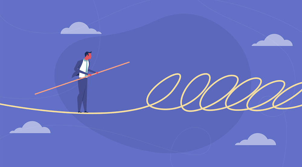 A vector character walks a tight rope that has some obstacles ahead (T Compliance: An Essential Ingredient For Winning Deals)