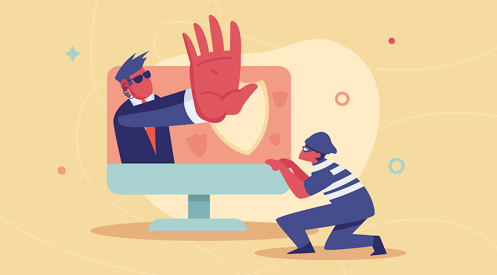 A vector illustration of a robber breaking into a computer but security is stopping him.
