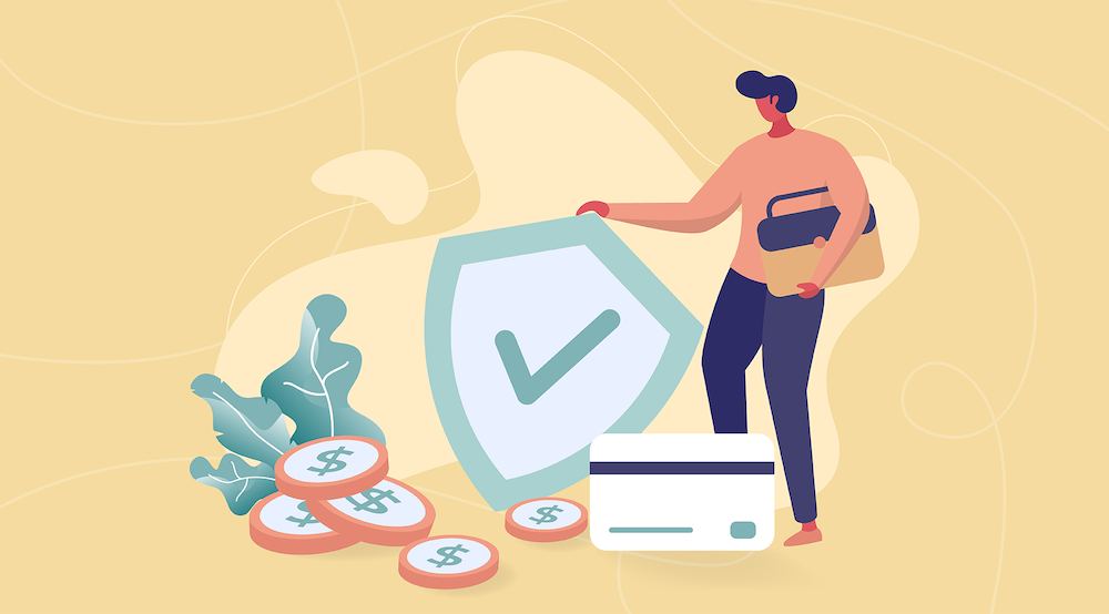 A vector character symbolically looks at their good financial security after transforming their IT risk management program.