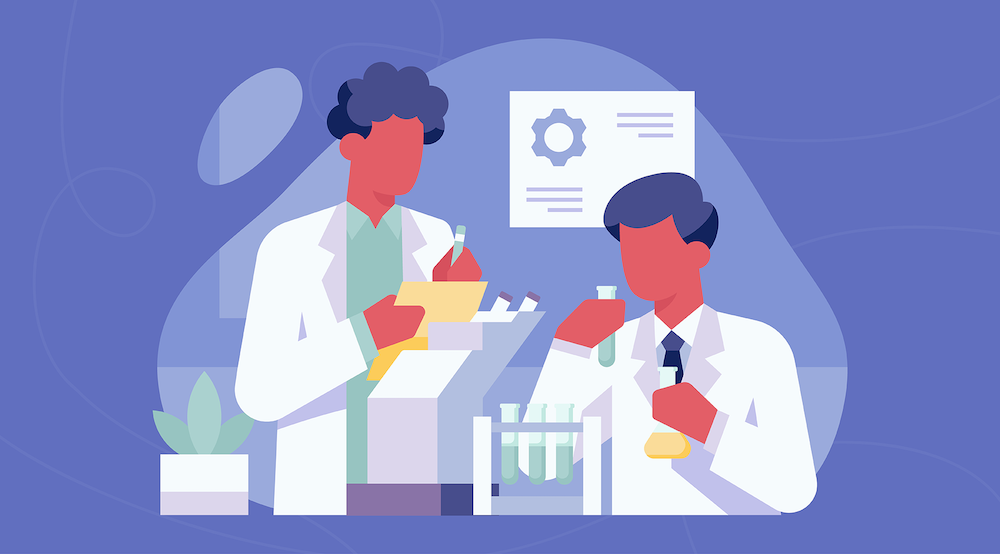Two vector characters do lab study work.