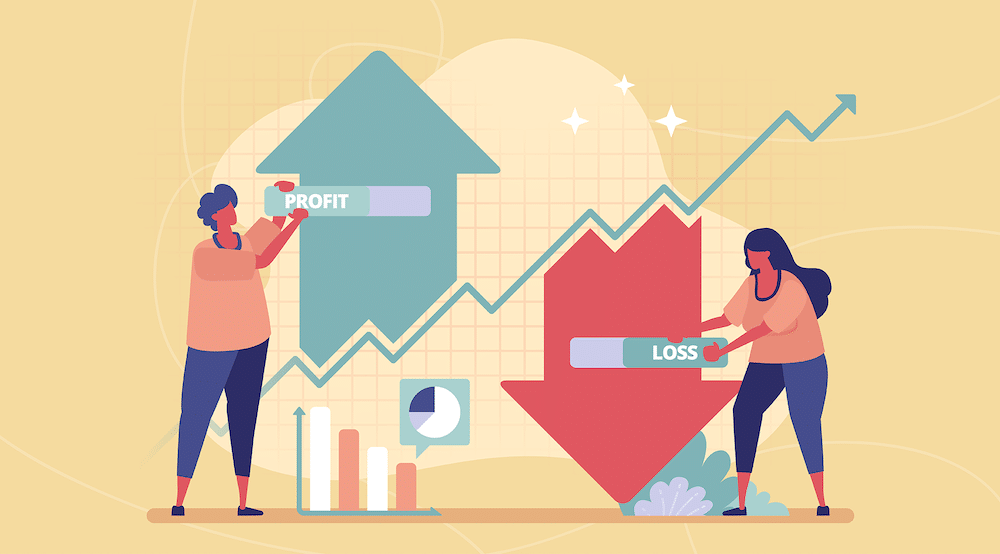 A vector showing the profit and losses in a business impact analysis