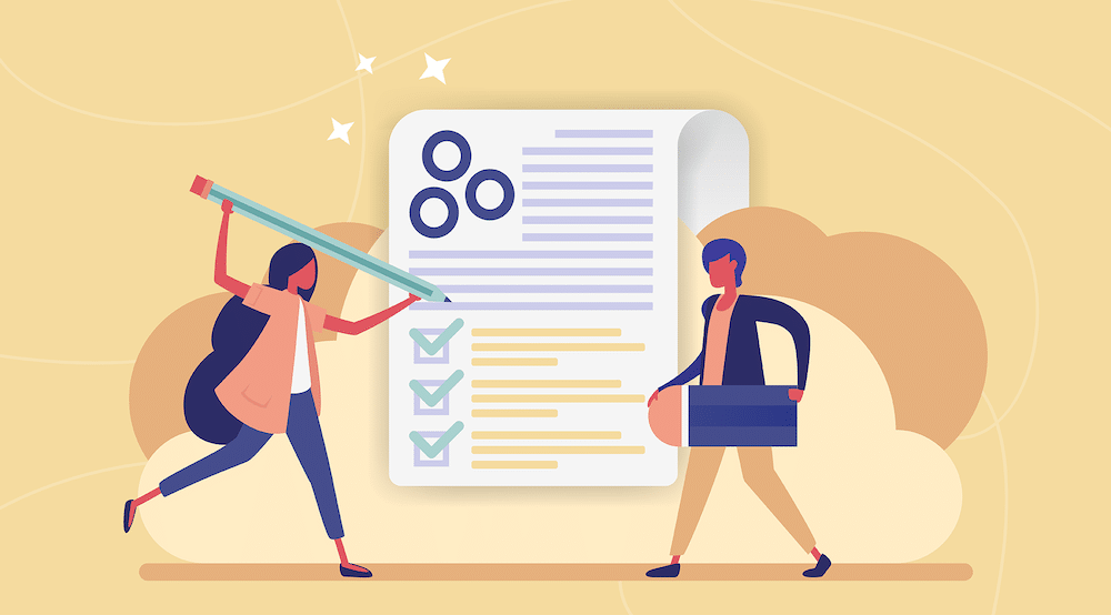 A vector showing characters checking off boxes of a to-do list.